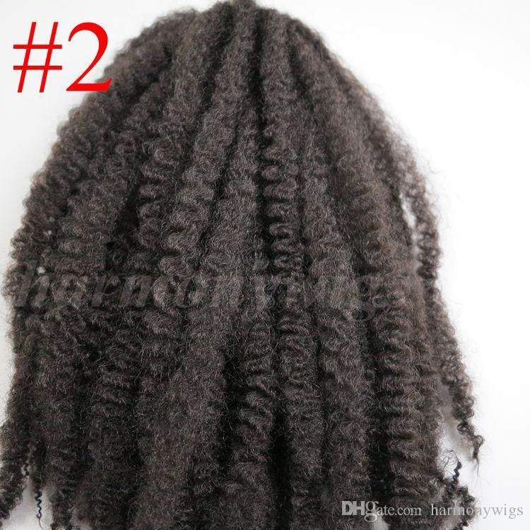 Afro Kinky Marley Braids 합성 머리 끈 20inch # 2 / Darkest Brown 100 % Kanekalon 합성 크로 셰 뜨개질 머리카락 꼬임 머리띠