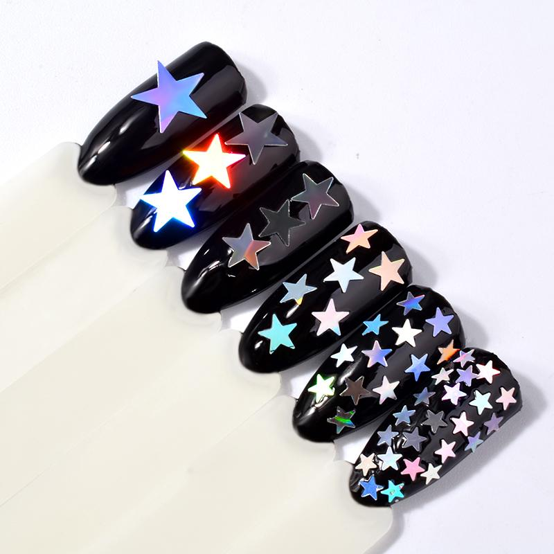 Set 6 Pot Laser Silver Five Pointed Star Nail Art Sequins Stickers ...