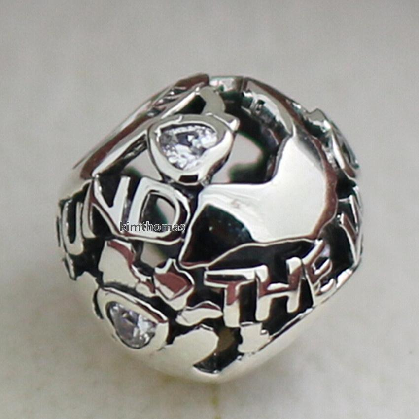 925 Sterling Silver Around the World Charm Bead with Cubic Zirconia Fits European Pandora Style Jewelry Bracelets Necklaces & Pendants