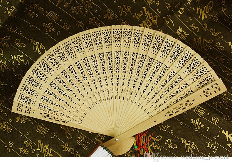 Wedding Fans Wooden Fans Handmade 8'' Chinese Sandalwood Fans Ladies Hand Fans Travel Fans Promotional Folding Fans Guest Gift