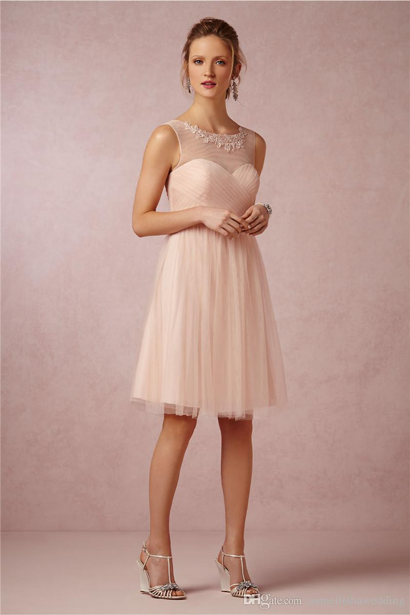 2015 New Short Knee Length Bridesmaid Dresses Sheer Neck
