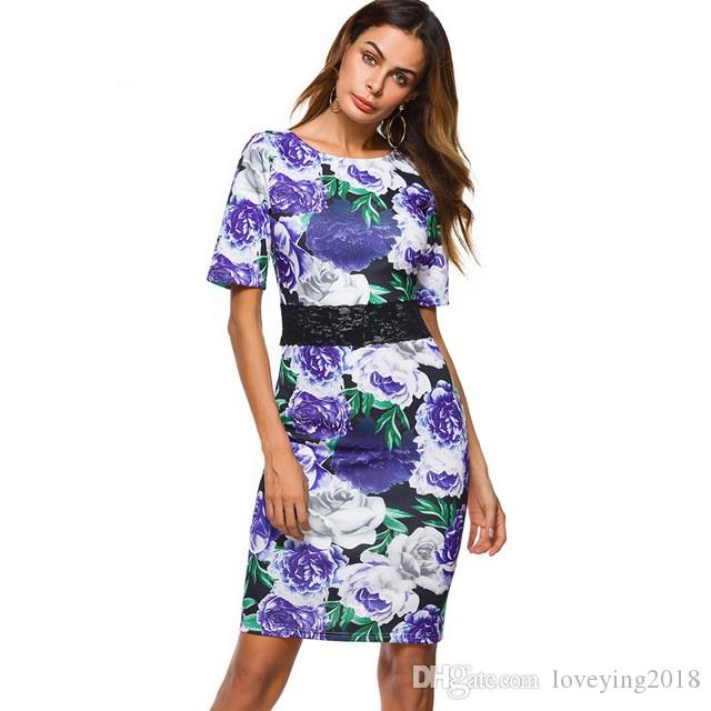 Elegant Women Cocktail Party Short Sleeve Midi Dress Sheath Bodycon Knee-Length Floral Print Flowers Pencil Dresses 2018