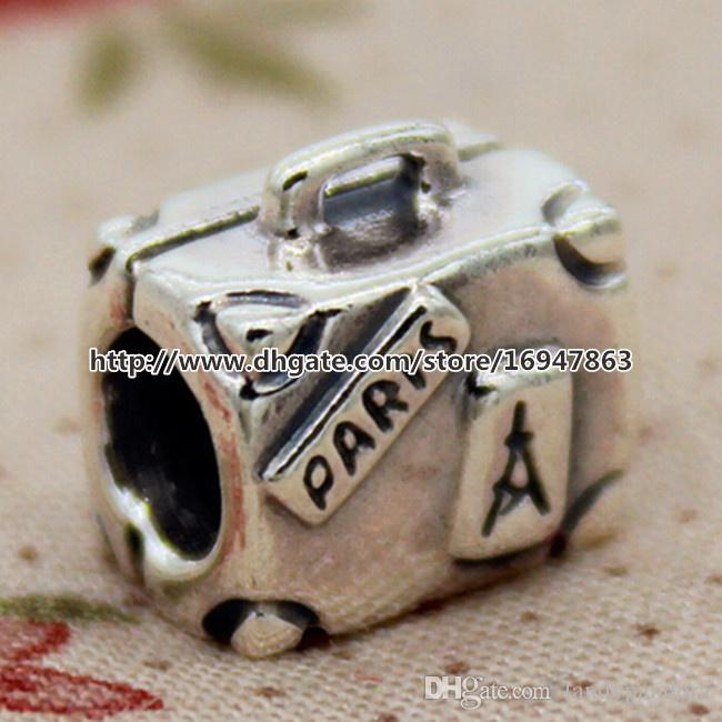 De alta calidad 100% S925 Plata esterlina Maleta Charm Bead adapta europea Pandora Style Jewelry pulseras collares colgante