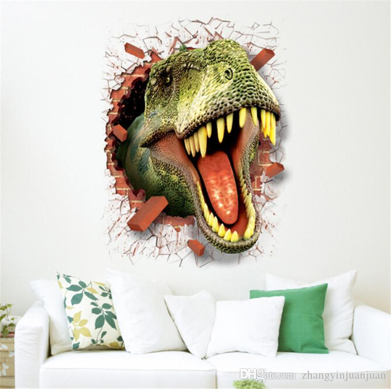 D Cartoon Wall Stickers Environmental Protection Easy Remove The - 3d dinosaur wall decals