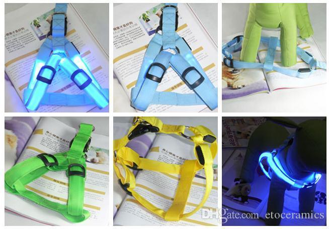 Glow LED 깜박이 라이트 개 목걸이 애완 동물 벨트 Harness Leash 테더 개 가죽 끈 5 색