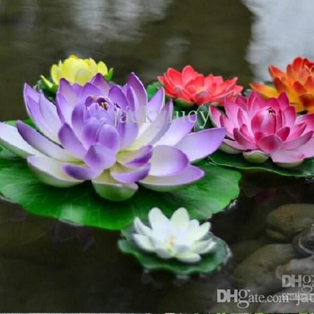 Artificial Decorations Lotus Flower Diy Craft Fish Tank Water Pool Flower For Christmas Ornament 17cm For Wedding Party Decoration Supplies