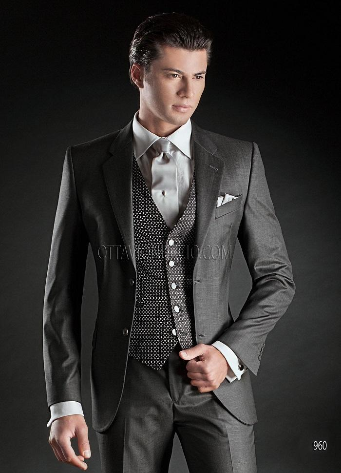 Italian Dark Grey Mens Wedding Suits 2015 Notched Lapel Mens Suits ...