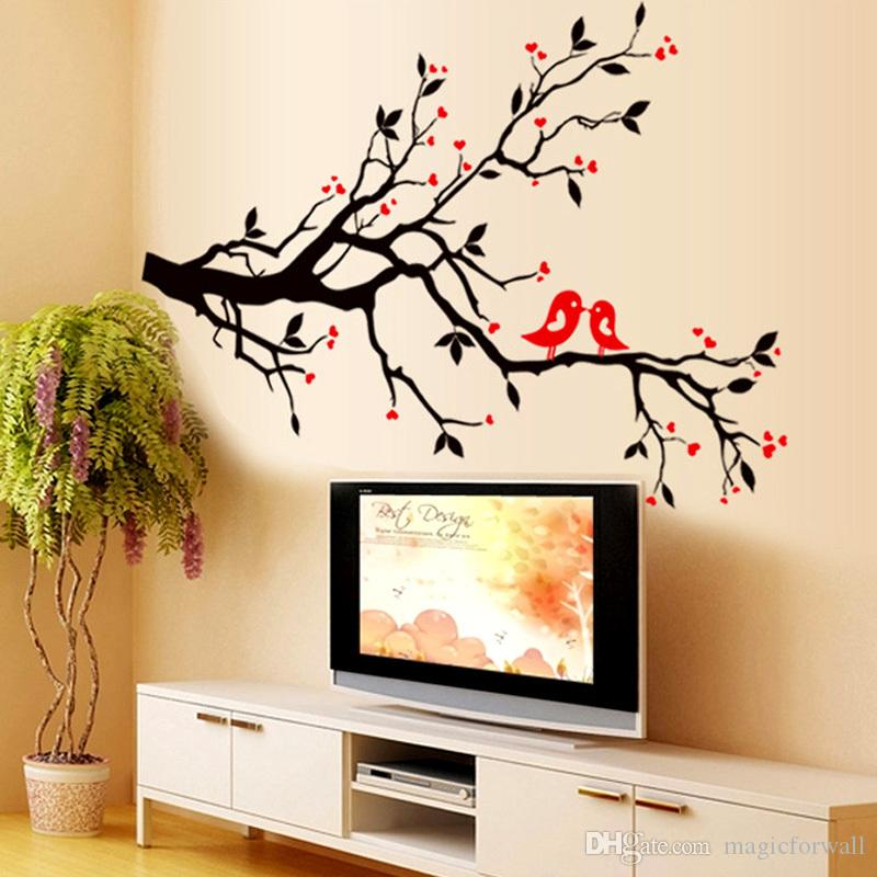 Tree Branch Love Birds Cherry Blossom Wall Decor Decals Removable Decorative Wall Art Mural Poster Stickers for Living Room TV Background