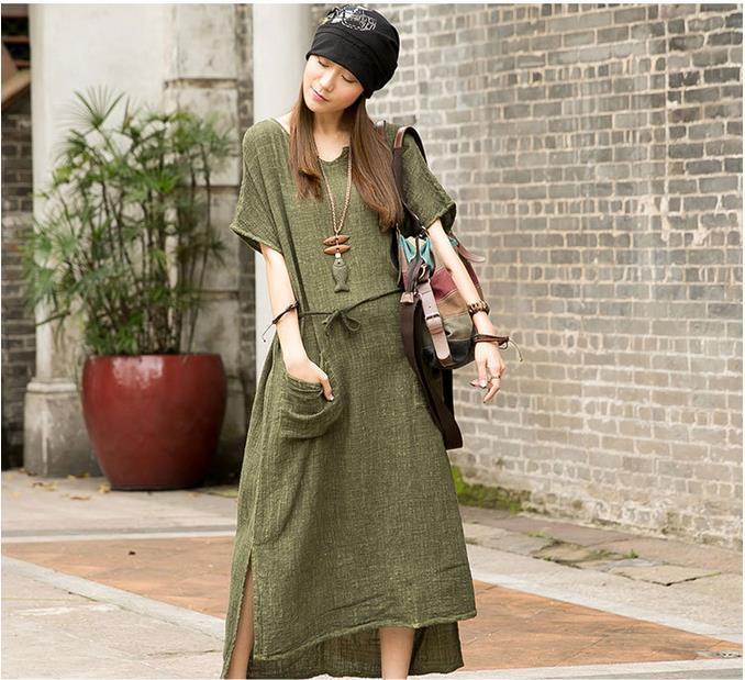 New Original Women Cotton Linen Maxi Dress 2015 Summer Short ...