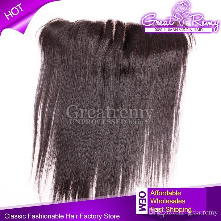 Greatremy® 13x2 Ohr zu Ohr Closure-brasilianische Jungfrau-Haar-Spitze Frontal seidige gerade Menschenhaarteile 3 Way Part 8-20inch Natural Color