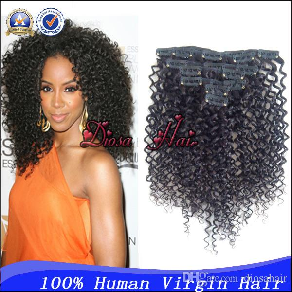 Hot Virgin Brazilian Kinky Curly Clip In Human Hair Extensions 7pcsset 70g Per Package Clip In Hair Free Shipping