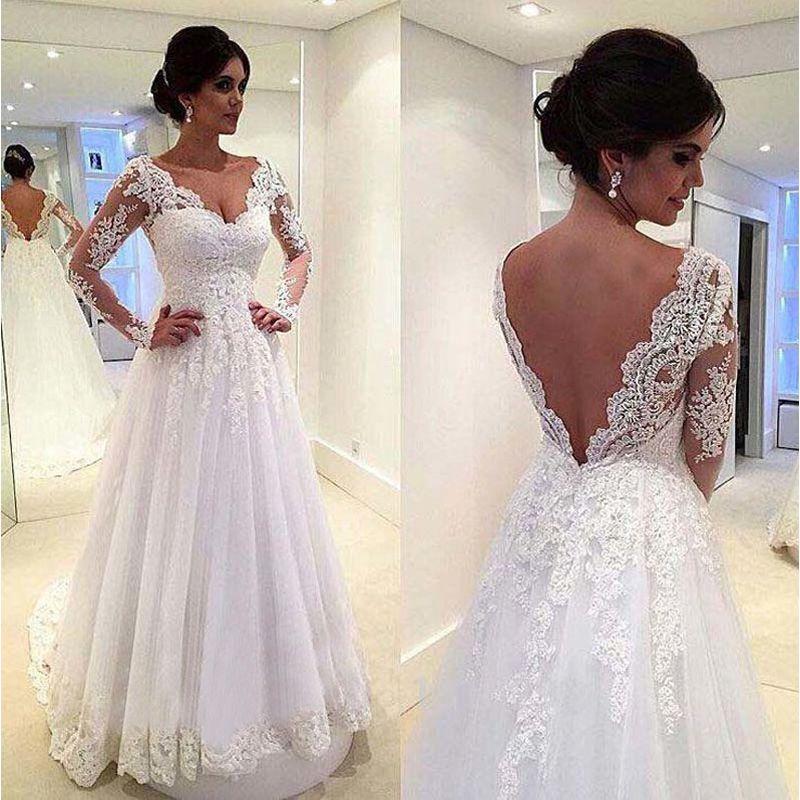 Lace A Line abiti da sposa Vestido de novias abito da sposa manica lunga 2018 Sexy Backless Abito da sposa robe de mariee