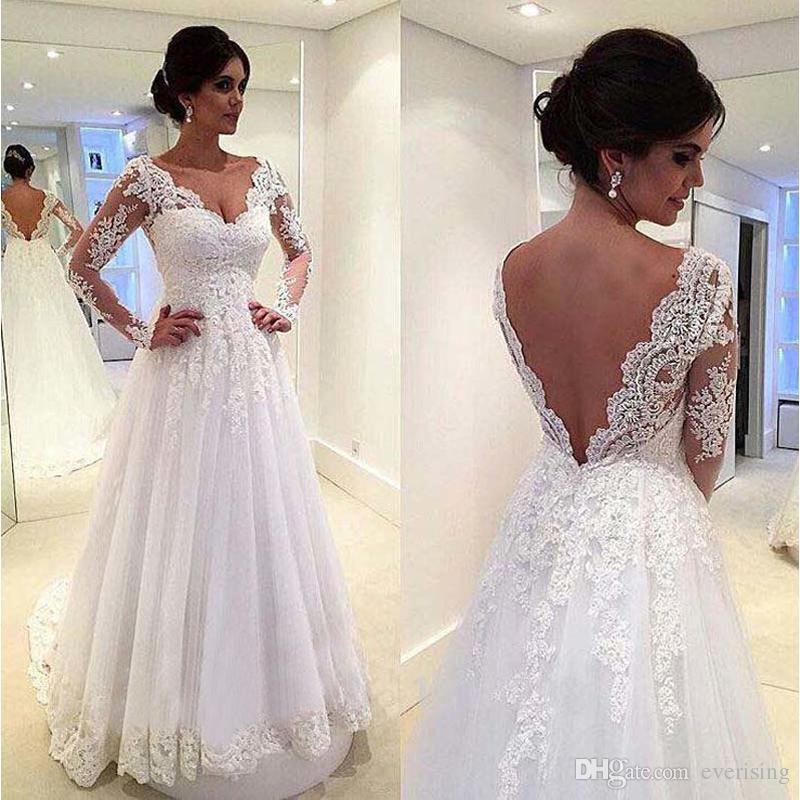 Vestido de novia de encaje A Line Vestido de novias vestido de novia de manga larga 2018 Vestido nupcial sin espalda sexy robe de mariee