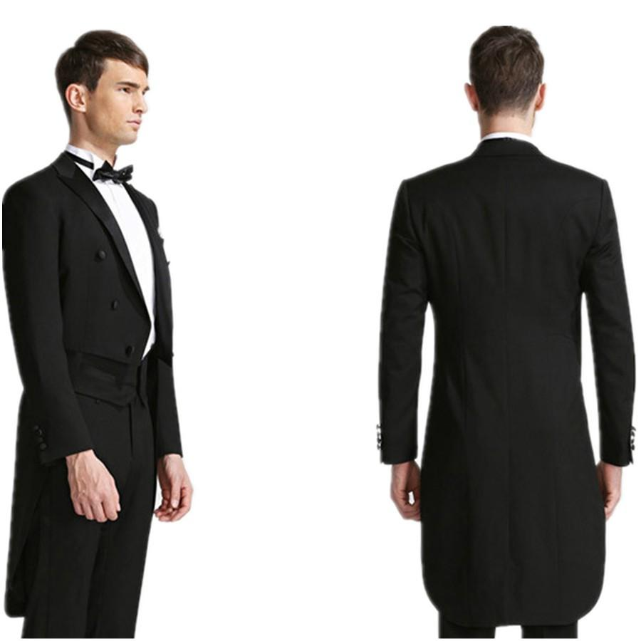 New Desgin Tailcoat Groom Tuxedos Black Mens Suits Double Breasted ...
