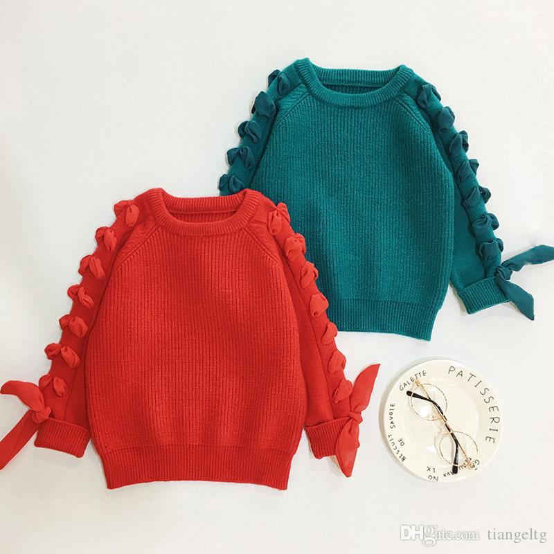 05a6ad65319d Girls Sweaters Fashion Cuff Braided Sleeve Belt Long Sleeve Knitted ...