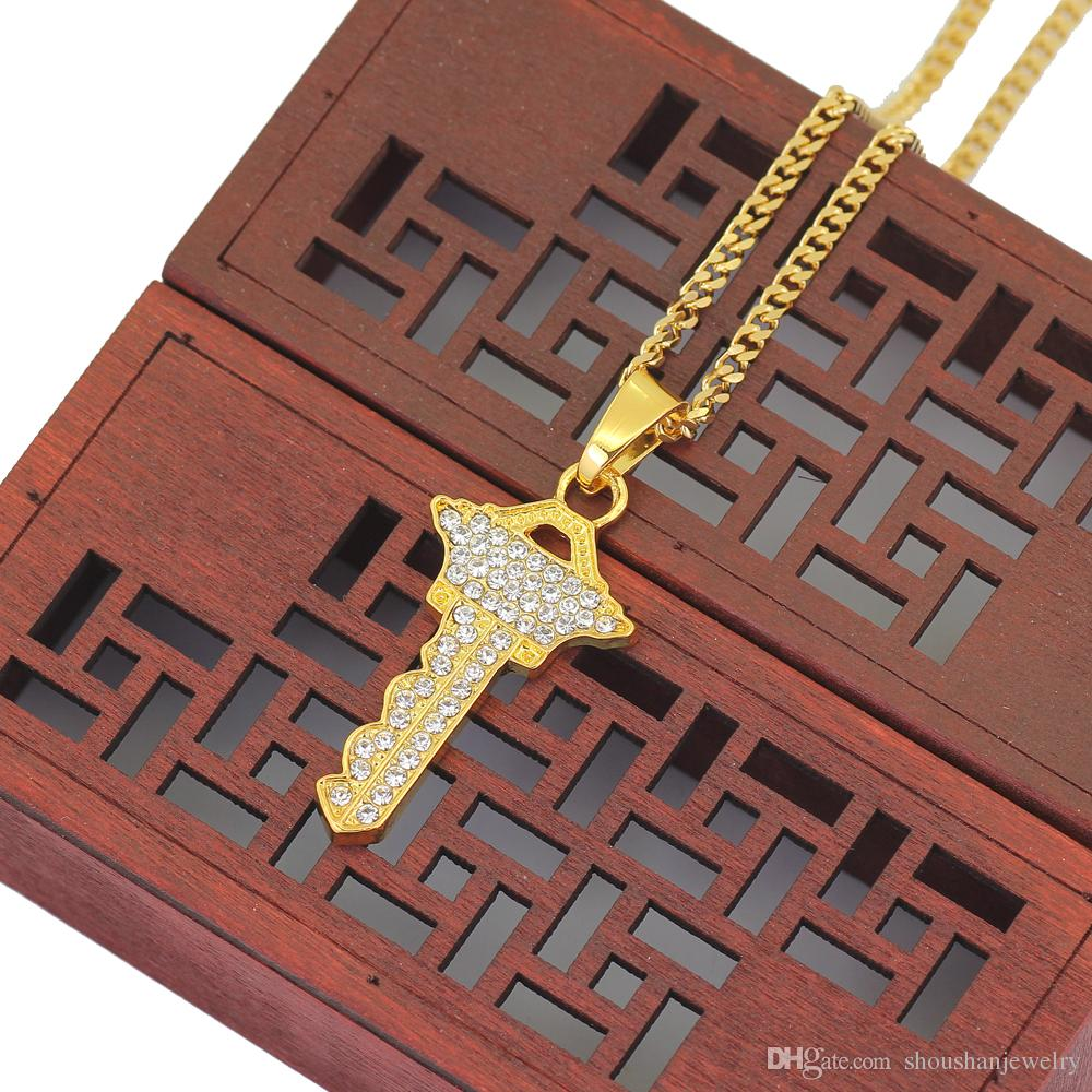 3mm 24inch stainless steel cuban chain Small Gold-Color Hip Hop Mini Crystal Key Pendant Necklace N513