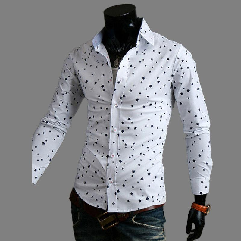2017 New Casual Shirt 2015 Mens Fashion Little Star Printed Cotton ...