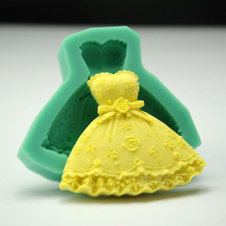 2018 Evening Dress Cupcake Bakeware Wedding Candy Molds Princess ...