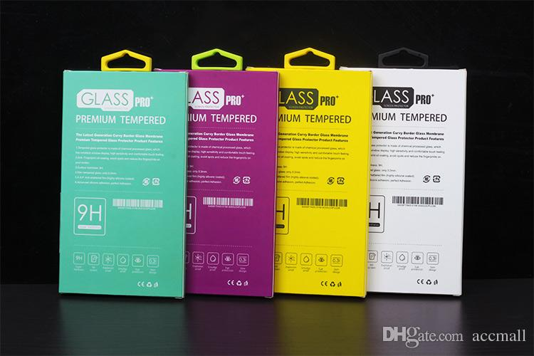 Universal Luxury Tempered Glass Screen Protector Film Protective Guard Retail Package Box Förpackning Boxar för mobiltelefon Tillbehör