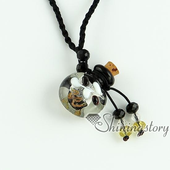 essential oil diffuser necklace empty small glass vial necklace pendants wholesale supplier Italian murano glass foil jewelry