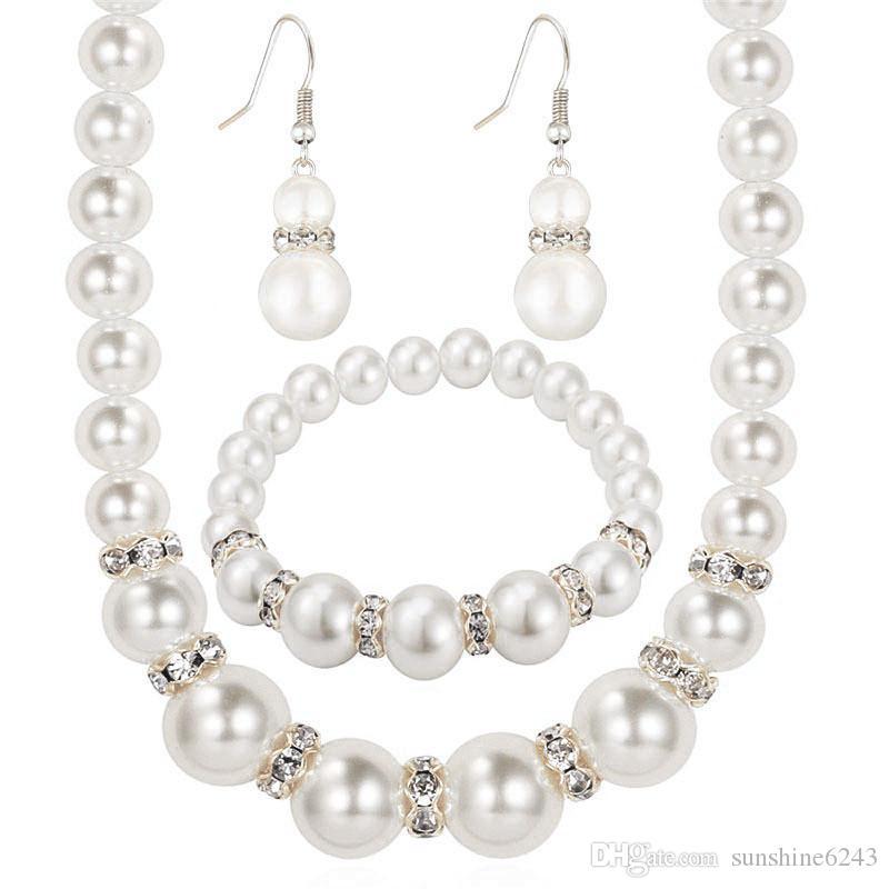 Conjuntos de joyas de perlas Perla africana Platino Plateado Collar de cristal austriaco Pendientes Mujeres Regalo nupcial Partido Joyería Conjunto