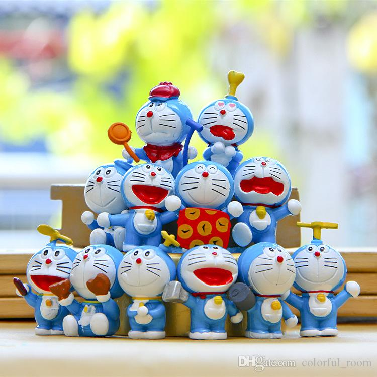 Sale Cute Doraemon cartoon cat Toppers Doll PVC Action Figures Toy Fairy Garden Miniatures Craft for Christmas Birthday Gift