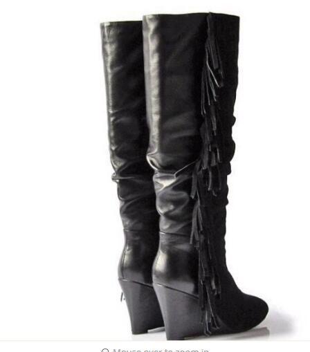 Top qualità 2017 in pelle scamosciata nappa laterale donna stivali alti al ginocchio cunei alti scarpe runway lady punta tonda slip-on