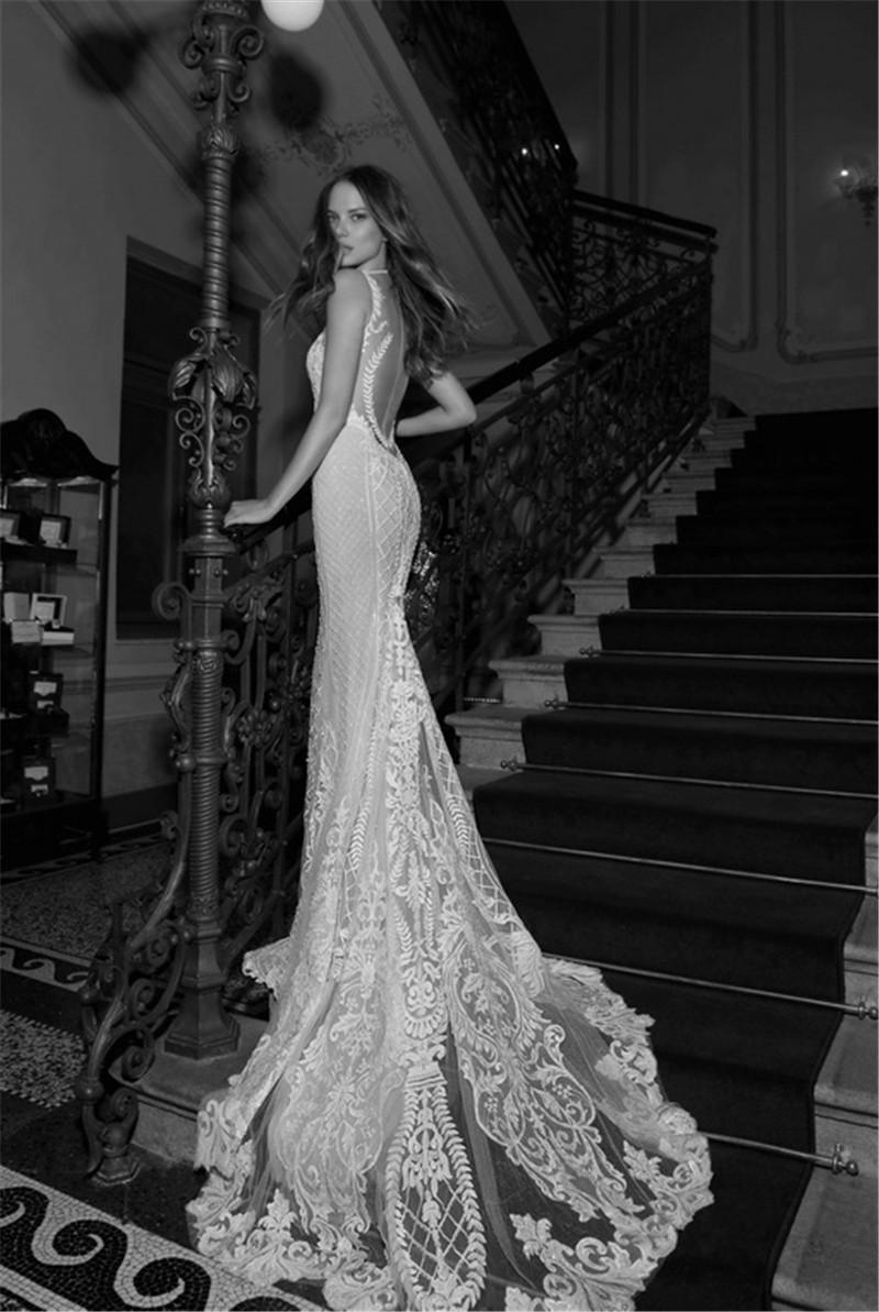 Берта Свадебные Кружева Свадебные Платья Jewel Декольте Sheer Назад Свадебные Платья Длиной До Пола Русалка Свадебное Платье