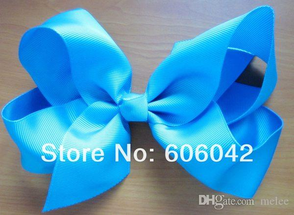 2016 new girls 6 inch big ribbon bows Girls hair accessories hair bow without clip hot selling bows for gir