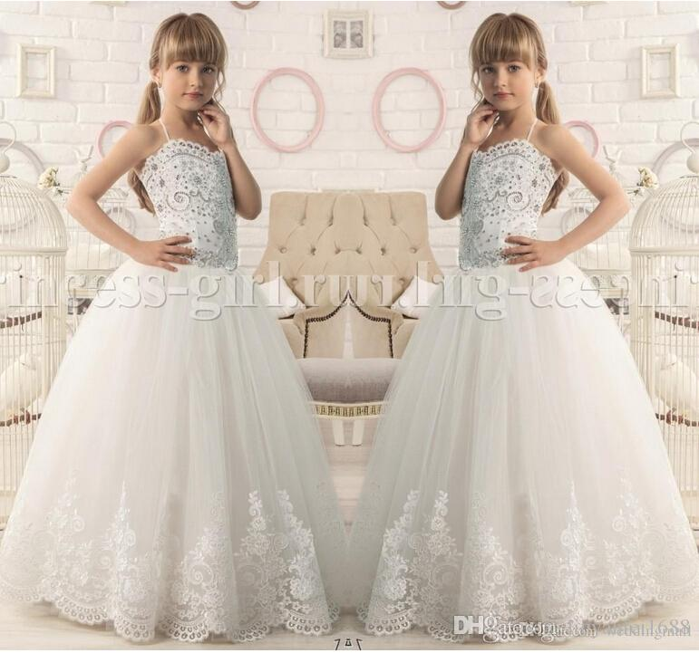 Ivory Vintage Halter Lace Beaded Ball Gown Tulle Baby Girl Dresses Kids Dresses For Wedding Kids Wedding Dresses Flower Girl Dresses