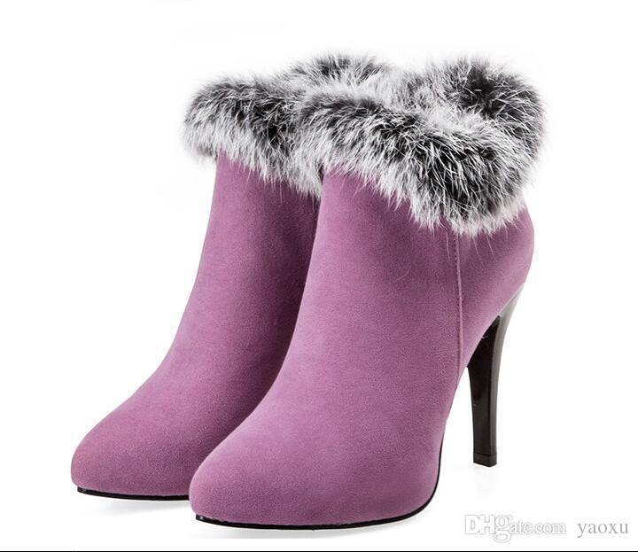Сексуальные Женщины Сапоги Зимние Высокие Каблуки Ботильоны Обувь Женщины Осень Дамы Короткие Сапоги Снег Мех Zip Белый Красный Большой Размер 11 12