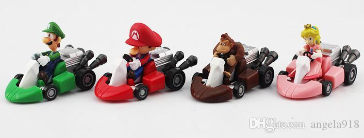 Новый Super Mario Bros Kart Pull Back Автомобильная фигура Игрушка 10 шт. / Компл. Mario Brother Pullback Cars Dolls E599