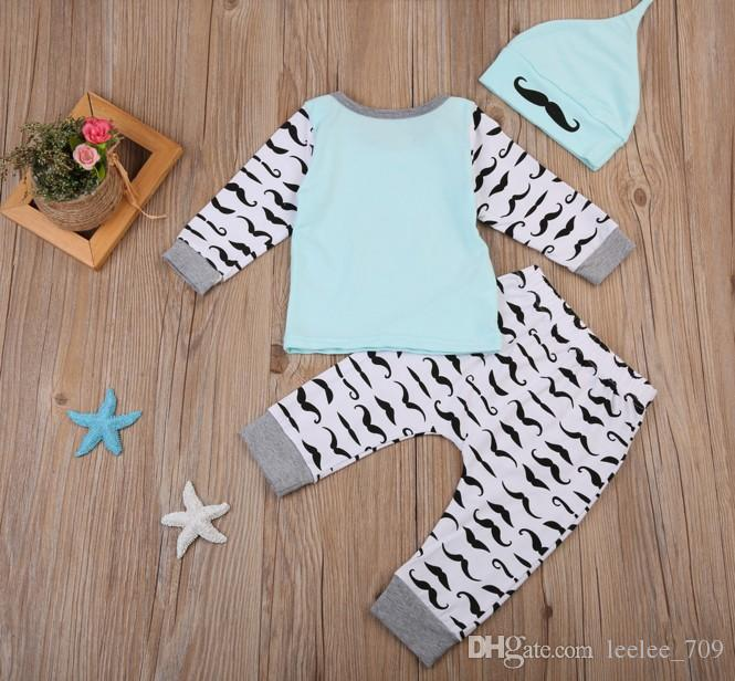 2017 IN-STOCK Newborn baby suits Toddler Infant Kids little man funny Shirts + pants children Boy moustache printed Clothes Outfits