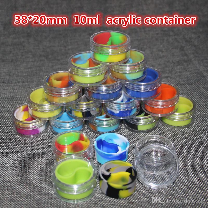 Toptan 10 ml akrilik balmumu kaplar silikon kavanoz dab balmumu konteynerler, silikon dab kavanoz cam yağ kapları ücretsiz kargo cam bong