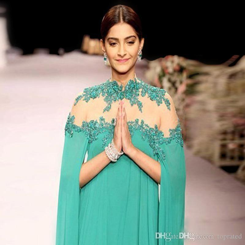 2019 Indian Green Formal Celebrity Dresses High Collar Long Sleeves Chiffon Floor Length Prom Party Dress Ruffles Long Evening Gowns