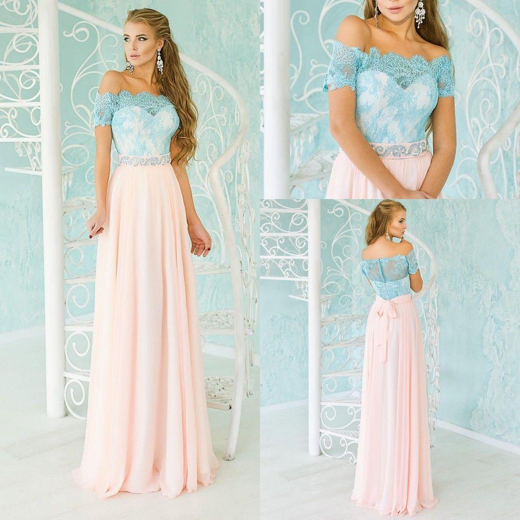 Vintage Pink Blue Bridesmaid Dresses 2016 Off The Shoulder Lace And ...