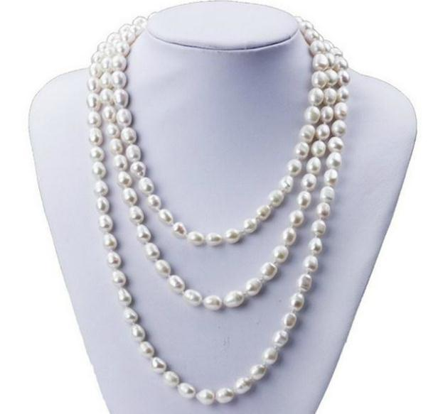 7-8 мм Одноручьевой рис форма белый природных пресноводных жемчужное ожерелье для женщины 48 дюймов