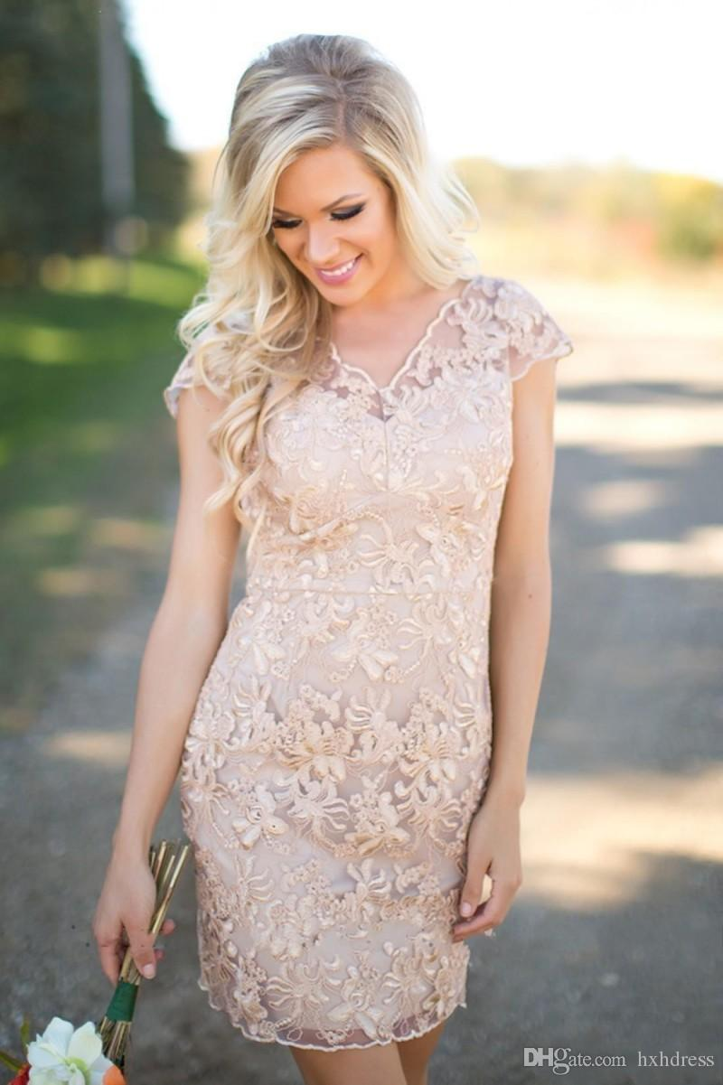 2019 Новая страна платья невесты V-образным вырезом с полным кружевом с короткими рукавами Шампанское оболочка Свадебная одежда для гостей Платья для вечеринок Фрейлина платья 097