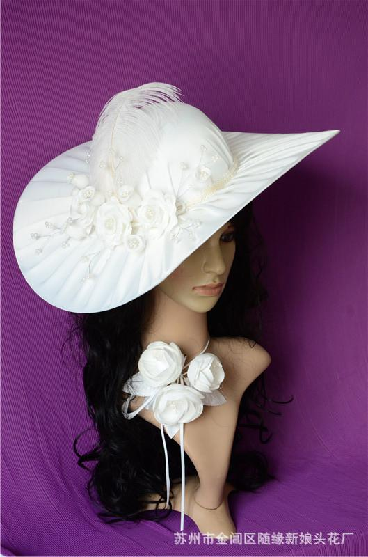 Lace Bridal Hats Fascinator Summer Beach Visor Of White Preal Feather  Handmade Flower Vintage Wedding Party Mother Off Bride Accessories fdbbfcba5c4