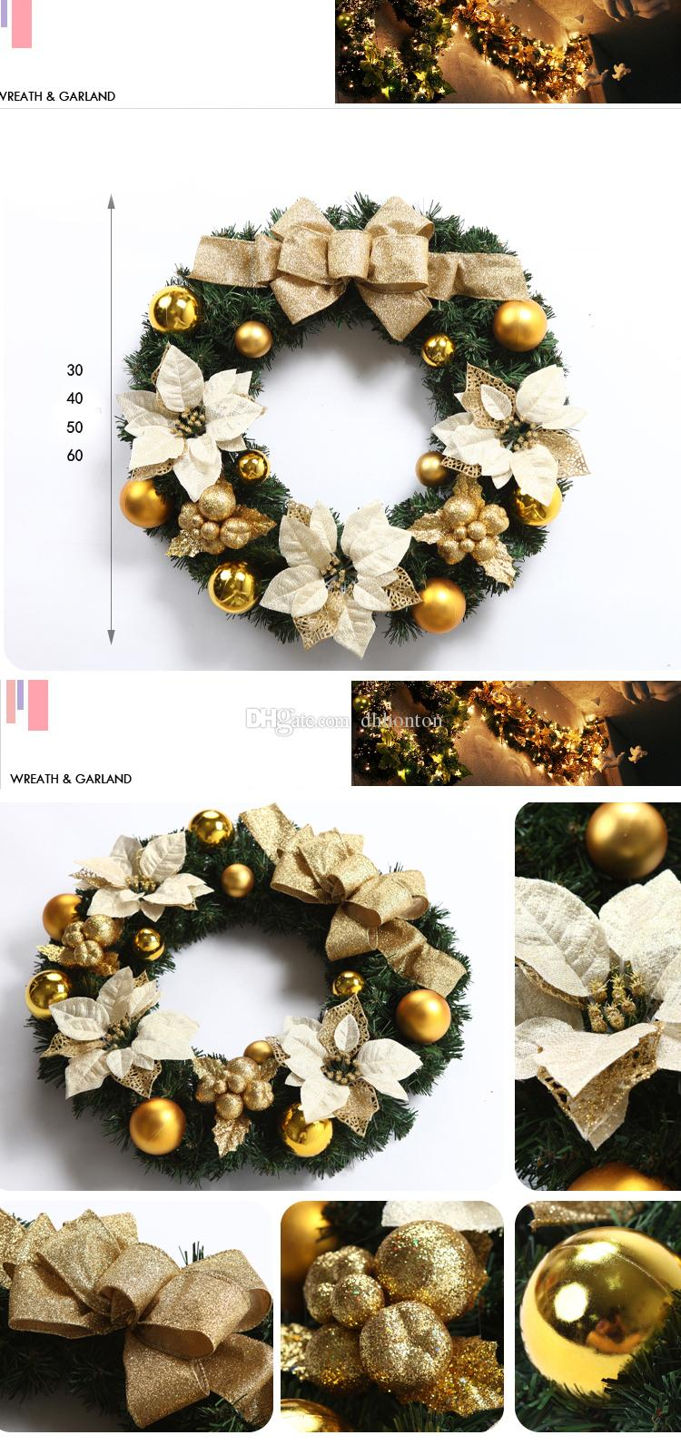 55cm diameter golden and red christmas decorative flower wreath Christmas Garland Gift for home garden and hotel