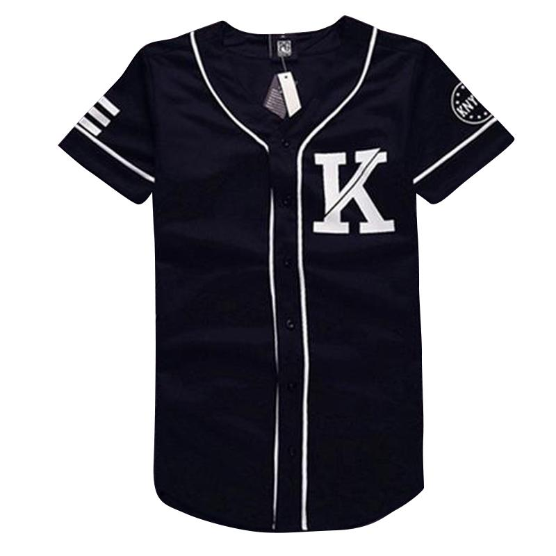 W1215 Mens Fringe Baseball Jersey Design Black White Patchwork T ...