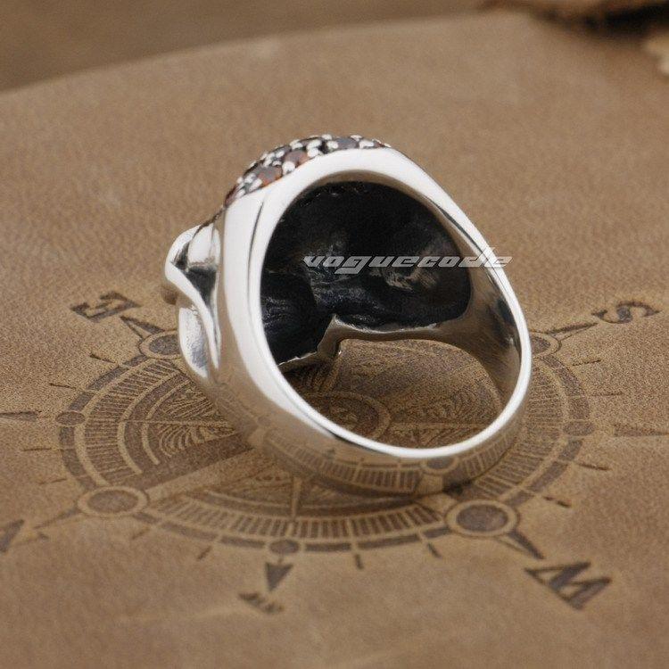 925 Sterling Silver Pilot Skull Mens Biker Rocker Ring 9D007A US Size 8.25~10.25