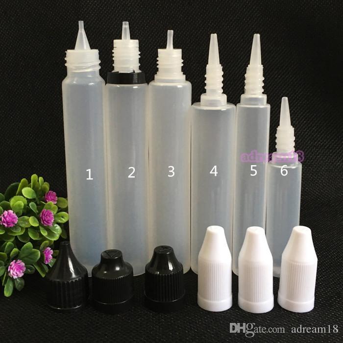 탬퍼 증거와 자식 증명 캡 긴 얇은 팁 DHL과 함께 홍보 30ML PE 병 펜 스타일 전자 액체 병 스포이드 병