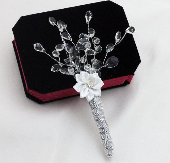 Silver Rhinestone Simple Wedding Bridegroom Boutonniere Man Corsage Groom Party Prom Brooch Decorations Men Suit Accessories Cheap