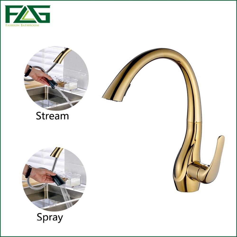 Discount Flg Kitchen Faucets Deck Mounted Single Handle Hole Golden