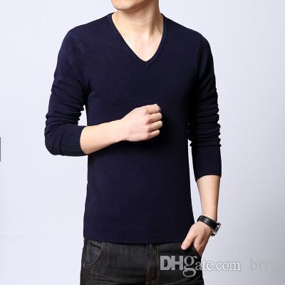 All'ingrosso-confortevole uomini slim colore solido maglione nero e grigio a maniche lunghe con scollo av base maglione sottile stile primavera calda moda