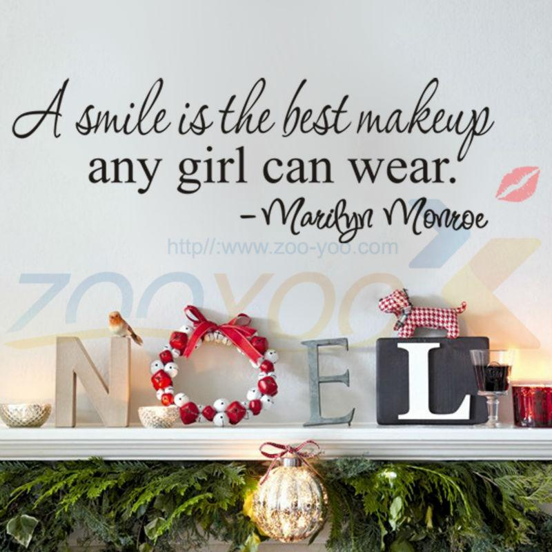 A Smile Is The Best Makeup Letter Wall Stickers English Wall