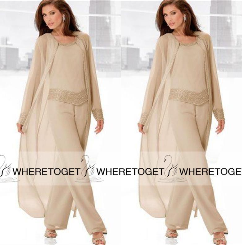 2019 Champagne tre pezzi Madre della sposa Pantalone con giacche lunghe Manica lunga in rilievo chiffon Madre Plus Size Abito da sposa