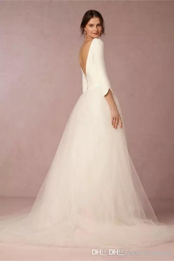 Cheap Modest Bohemian Wedding Dresses A Line Satin Top Backless 2020 Bridal Gowns with Sleeves Simple Design Soft Tulle Skirt Sweep Train