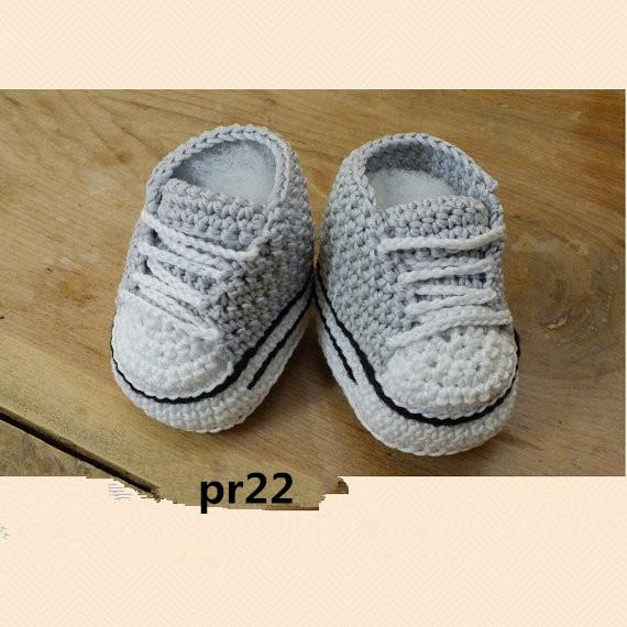 Zapatillas de deporte de crochet para bebés niños pequeños niños bebés botines Zapatillas de deporte de ganchillo gris hecho a mano sandalias zapatos